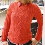 Fantázia mintás kötött pulóver