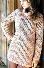 Hosszú azsúros kötött pulóver