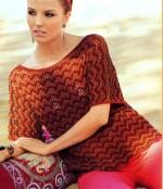 Hullámos mintával kötött pulóver