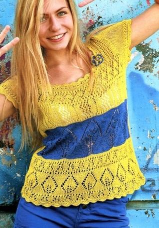 sárga kék kötött top