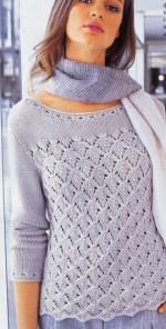 Levélmintás pulóver kötése