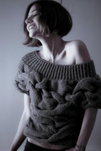 trendi pulóver kötése