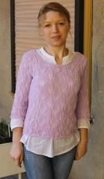 Levélmintás pulóver