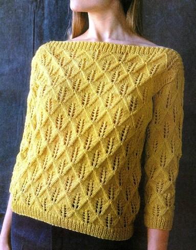 levélmintás pulóver kötés séma