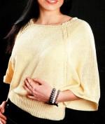 Elegáns denevér ujjú kötött pulóver