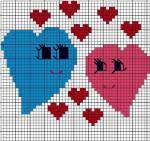 Keresztszemes szív minták