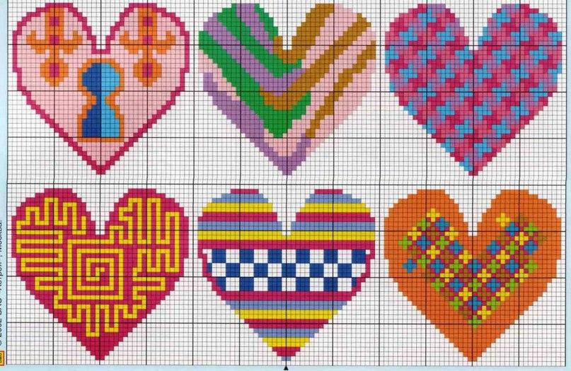 Keresztszemes szív minta