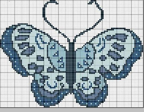 pillangó keresztszemes minta