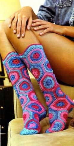 Motívumokból horgolt zokni