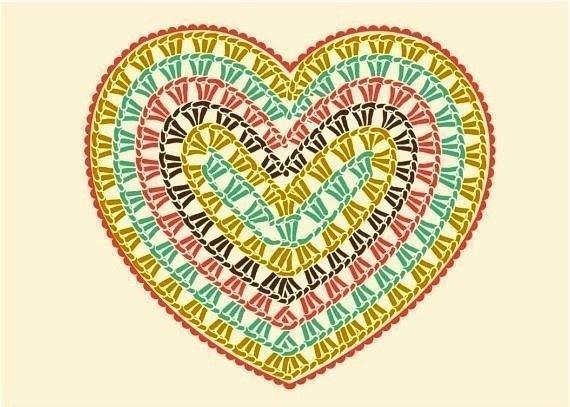 Szív motívumokból takaró