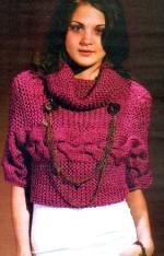 Keresztbe kötött rövid pulóver