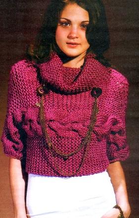 Átlósan kötött pulóver