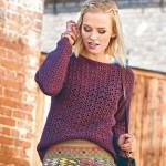 Lila azsúr mintás horgolt pulóver