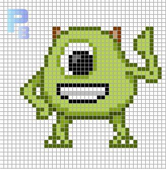 Zöld egyszemű szörny kötés minta