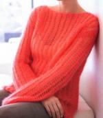 Vékony fonalból kötött azsúr mintás pulóver