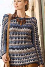 Egybe kötött csíkos pulóver
