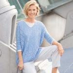 Egyenes szabású azsúr mintás pulóver