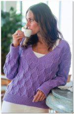 V-nyakú pulóver rombusz mintával