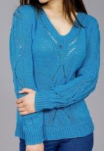 V-nyakú, azsúr mintás pulóver kötésminta